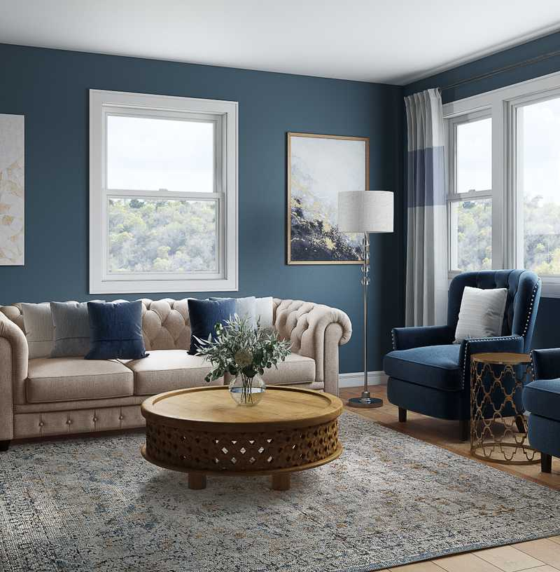 Eclectic, Transitional Living Room Design by Havenly Interior Designer Maggie