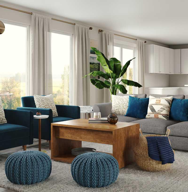 Contemporary, Midcentury Modern Living Room Design by Havenly Interior Designer Anny