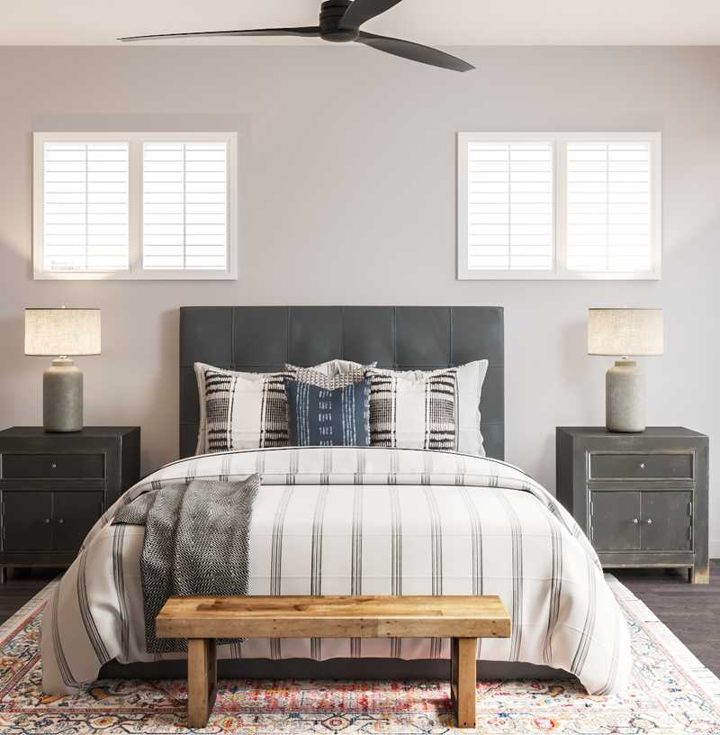 Modern, Bohemian, Farmhouse, Transitional, Global Bedroom Design by Havenly Interior Designer Lyndsi