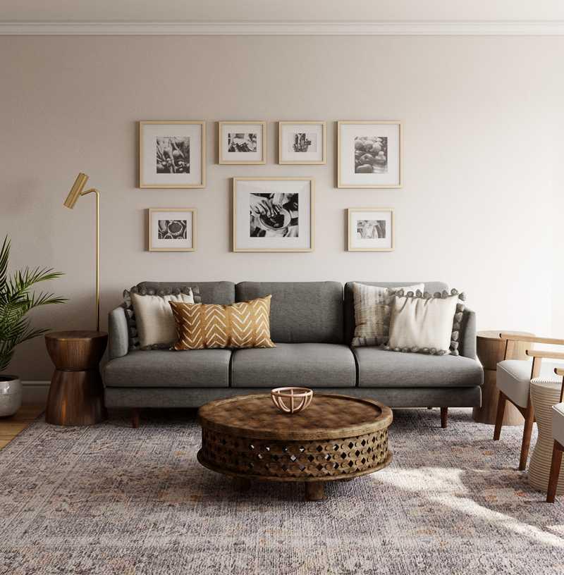 Modern, Glam, Rustic Living Room Design by Havenly Interior Designer Markie