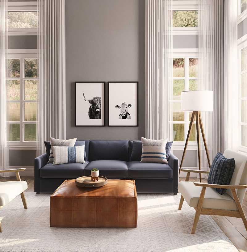 Bohemian, Midcentury Modern Living Room Design by Havenly Interior Designer Emma