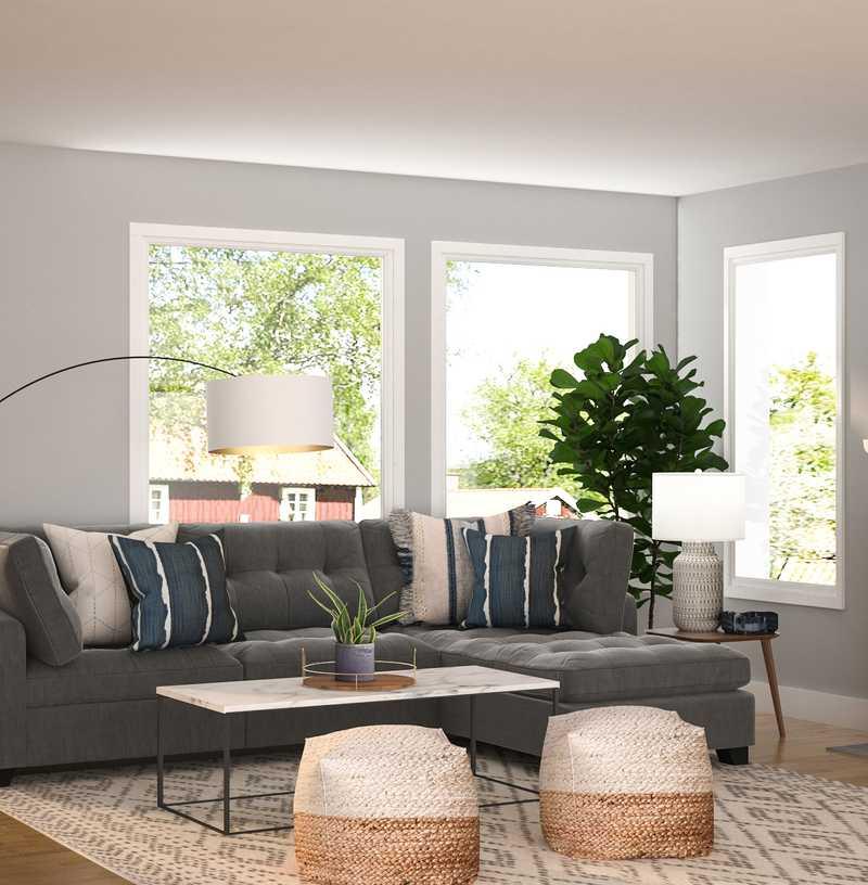 Contemporary, Modern, Midcentury Modern Living Room Design by Havenly Interior Designer Madison