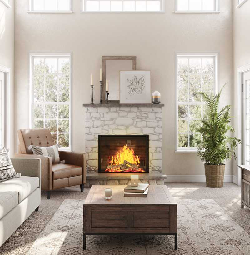 Industrial, Traditional, Farmhouse, Rustic Living Room Design by Havenly Interior Designer Katie