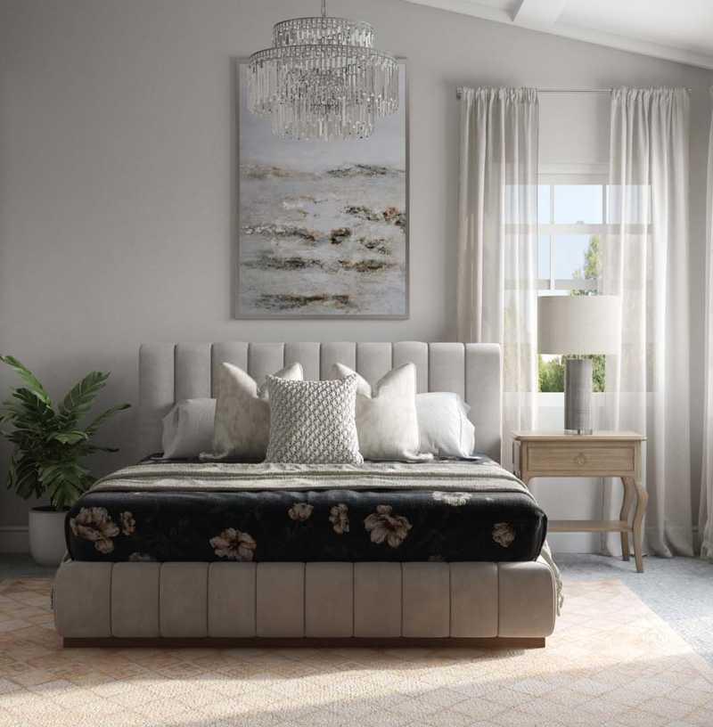 Contemporary, Glam, Preppy Bedroom Design by Havenly Interior Designer Elyse