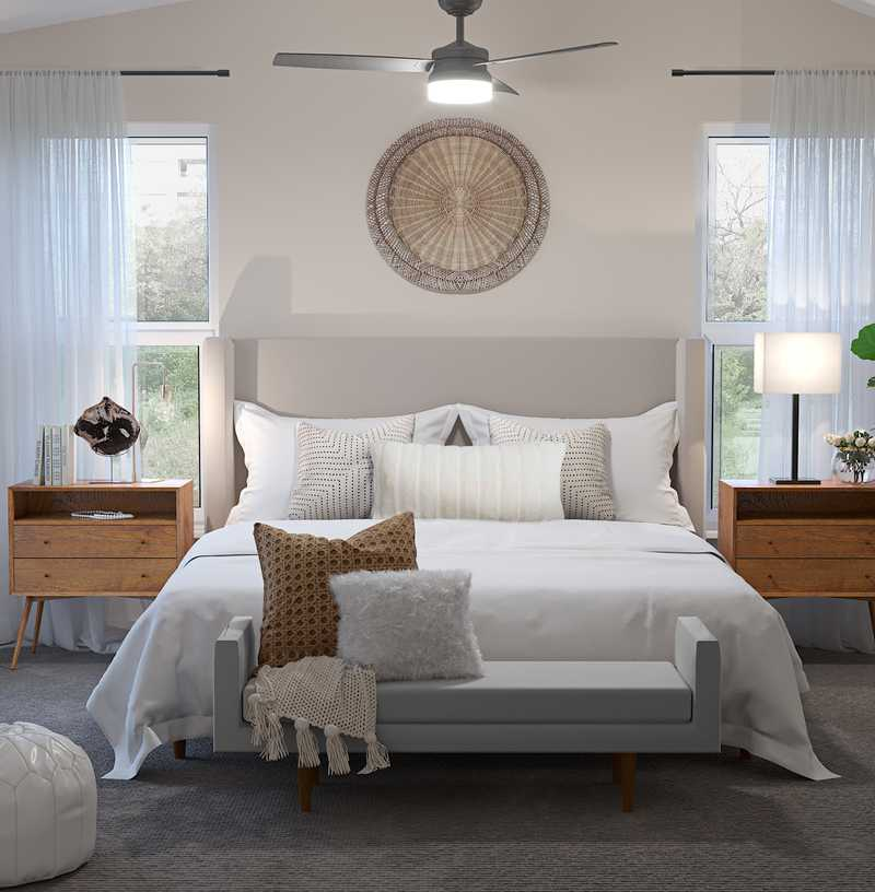 Modern, Eclectic, Bohemian Bedroom Design by Havenly Interior Designer Kelcy