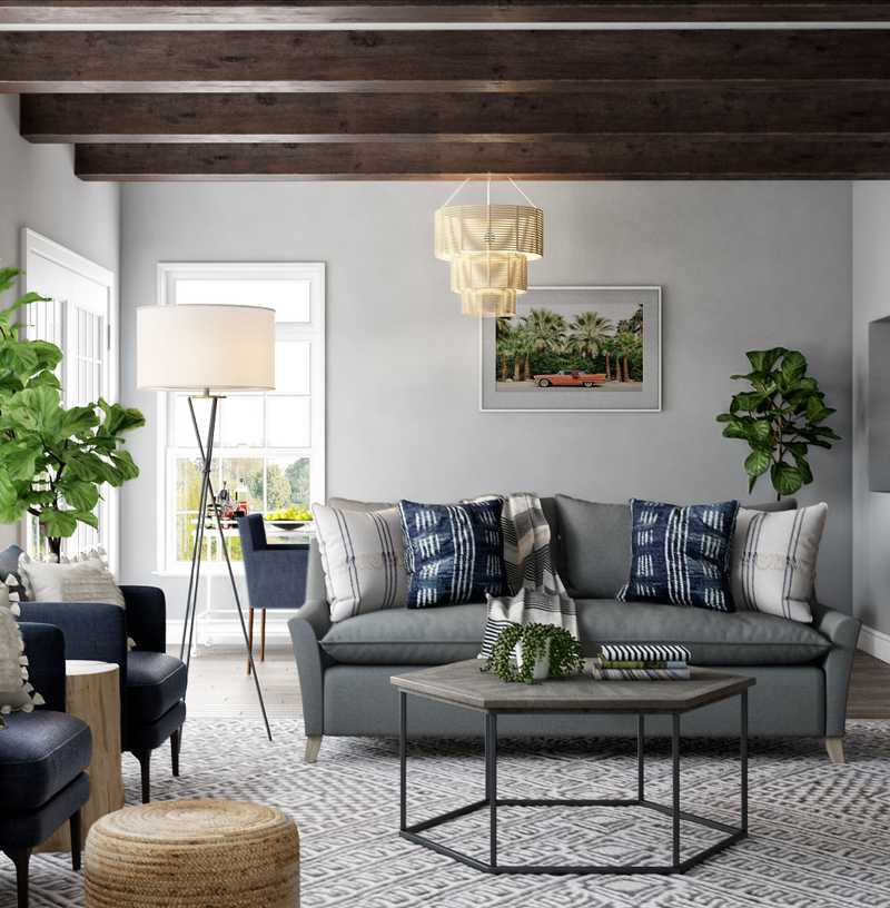 Modern, Eclectic, Bohemian, Transitional, Midcentury Modern Living Room Design by Havenly Interior Designer Leah