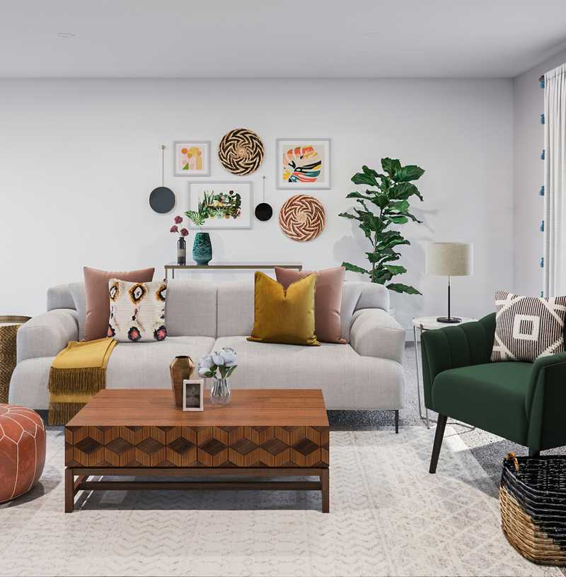 Eclectic, Bohemian, Midcentury Modern Living Room Design by Havenly Interior Designer Alexandra