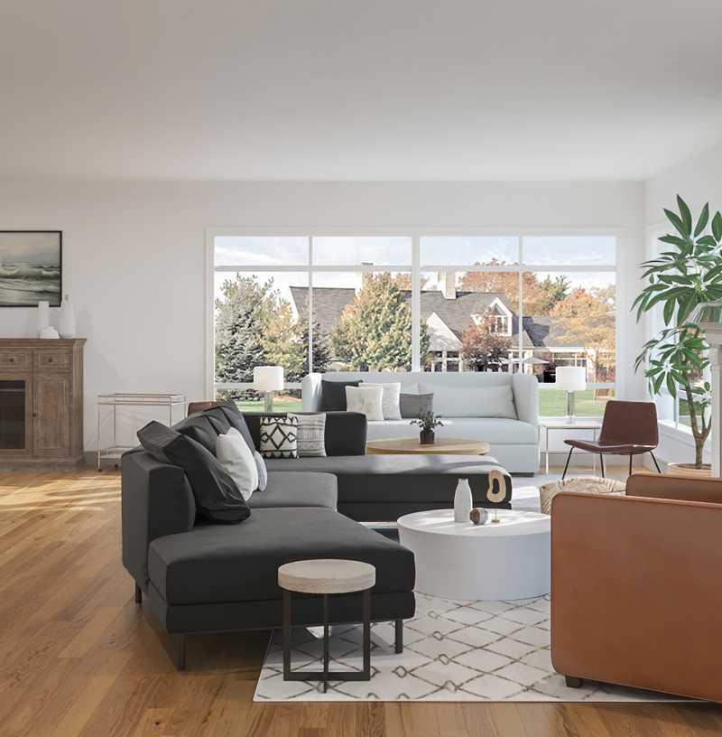 Industrial, Minimal, Scandinavian Living Room Design by Havenly Interior Designer Nidhi