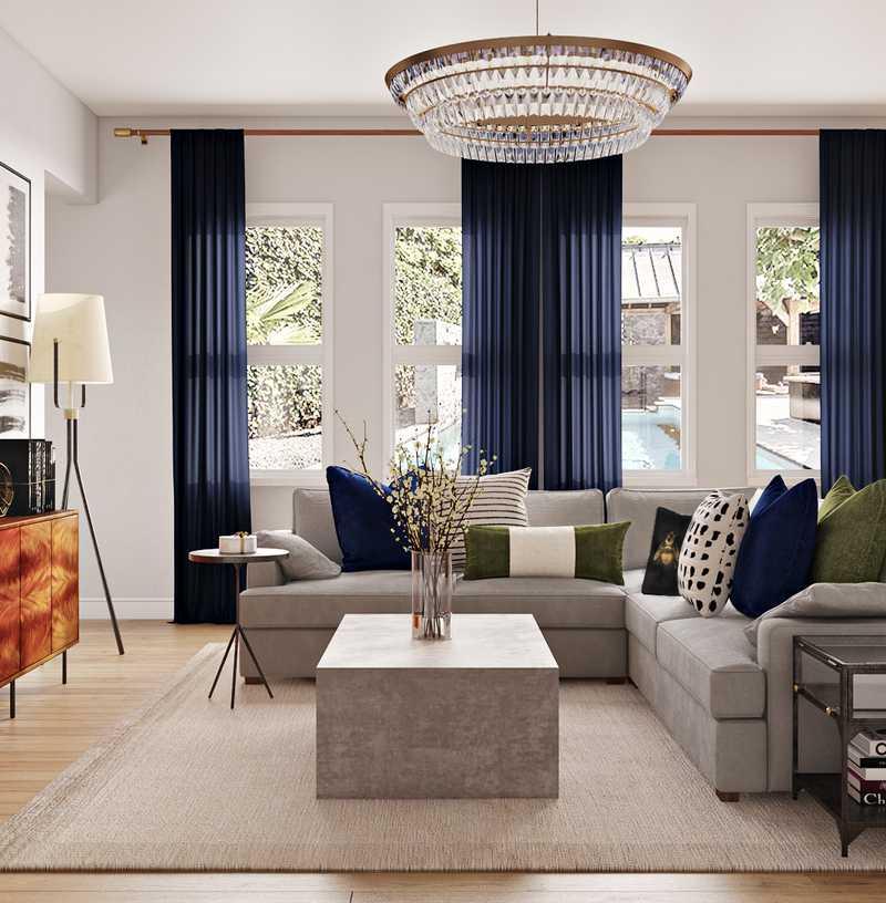 Contemporary, Modern, Glam, Global, Midcentury Modern Living Room Design by Havenly Interior Designer Sable