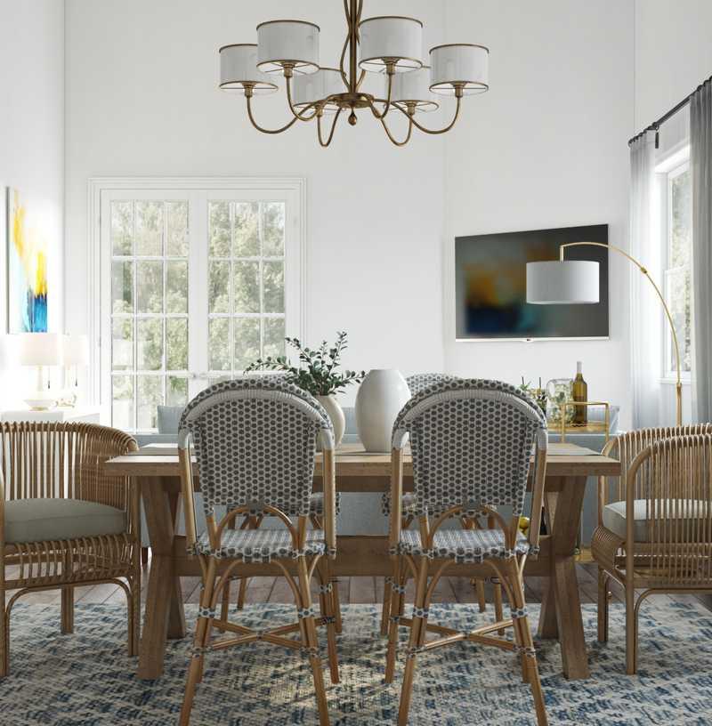 Coastal, Farmhouse, Transitional, Preppy Dining Room Design by Havenly Interior Designer Lisa