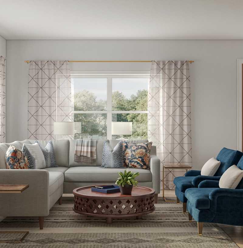 Classic, Coastal, Transitional Living Room Design by Havenly Interior Designer Rachel