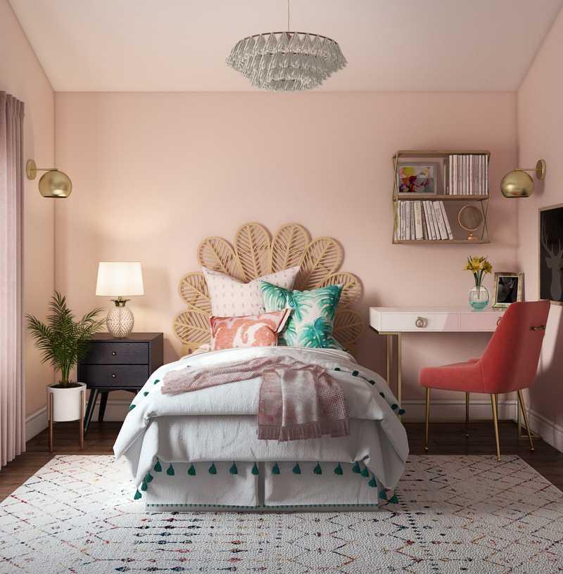 Bohemian, Glam, Preppy Bedroom Design by Havenly Interior Designer Caitlin