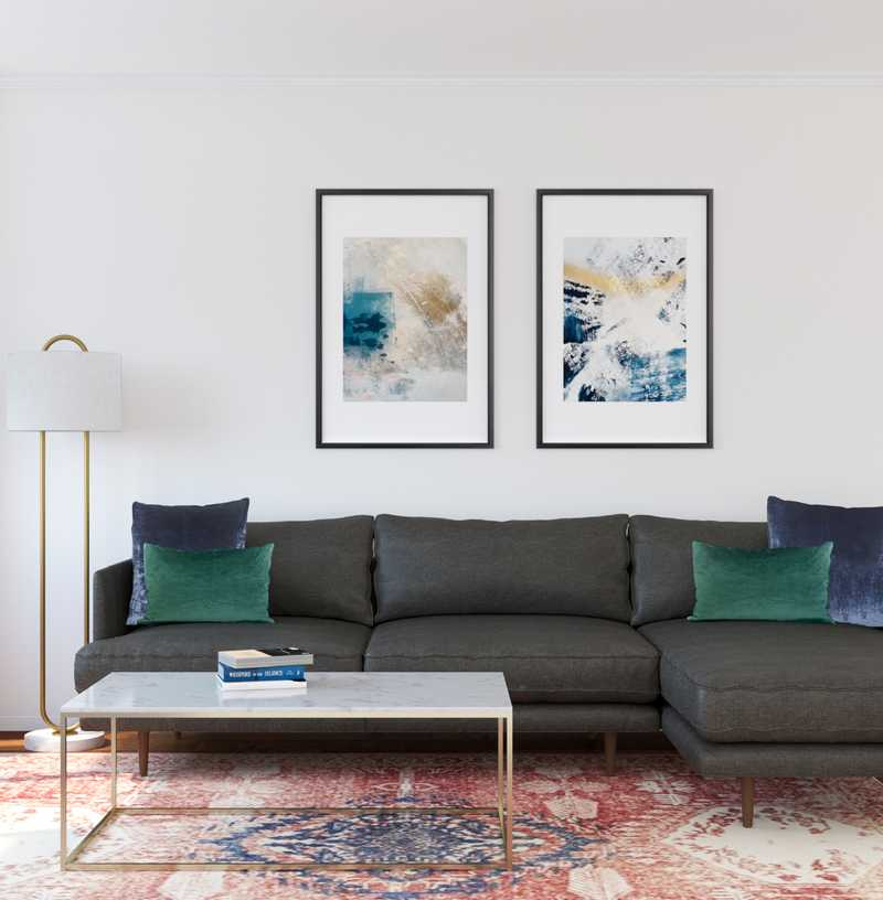Contemporary, Modern, Midcentury Modern Living Room Design by Havenly Interior Designer Megan