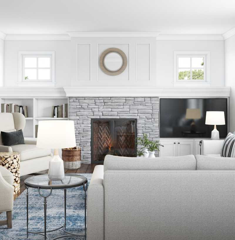 Contemporary, Classic, Coastal, Farmhouse Living Room Design by Havenly Interior Designer Vivian
