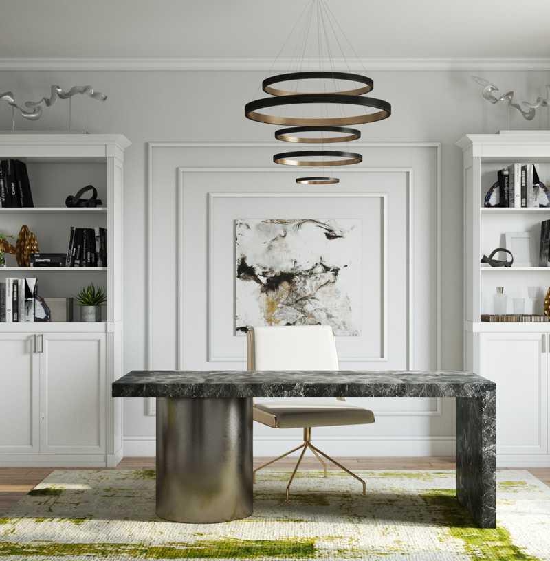 Modern, Glam Office Design by Havenly Interior Designer Levi