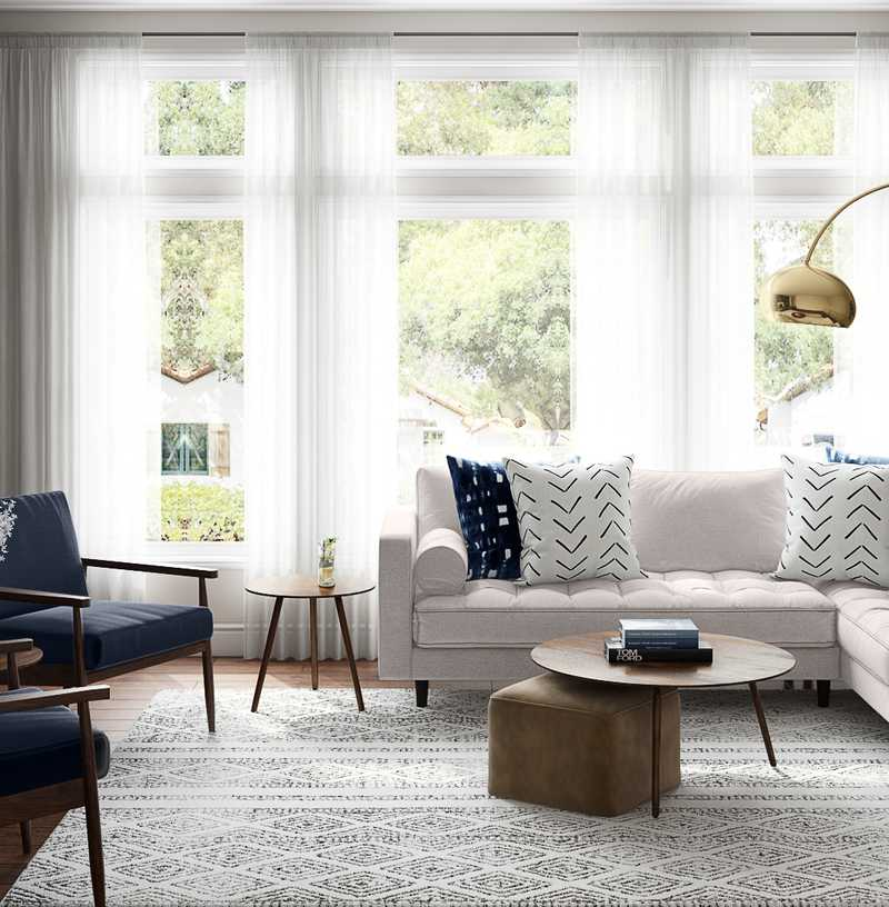 Bohemian, Midcentury Modern, Scandinavian Living Room Design by Havenly Interior Designer Carsey