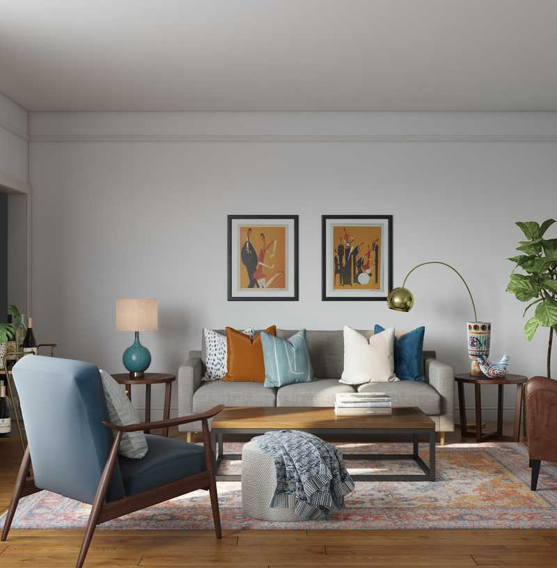 Eclectic, Bohemian, Midcentury Modern Living Room Design by Havenly Interior Designer Dani