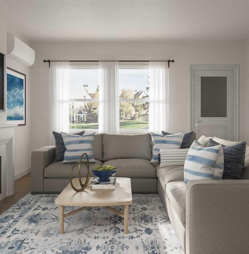 Contemporary, Coastal, Transitional Living Room Design by Havenly Interior Designer Meghan
