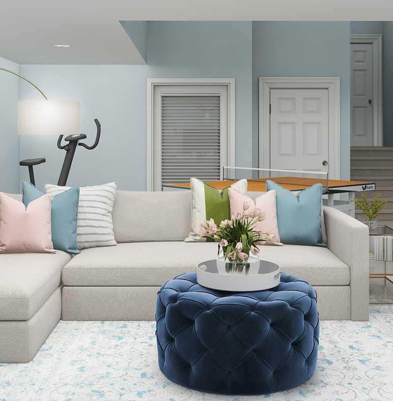 Coastal, Transitional Living Room Design by Havenly Interior Designer Kaity