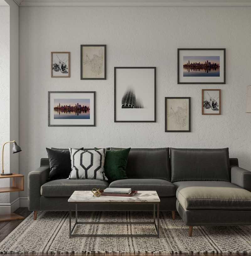 Modern, Industrial, Vintage, Global Living Room Design by Havenly Interior Designer Erin