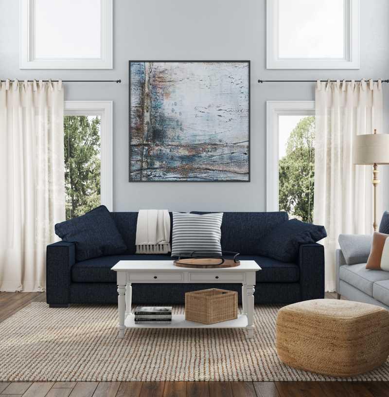 Coastal, Farmhouse Living Room Design by Havenly Interior Designer Sabra