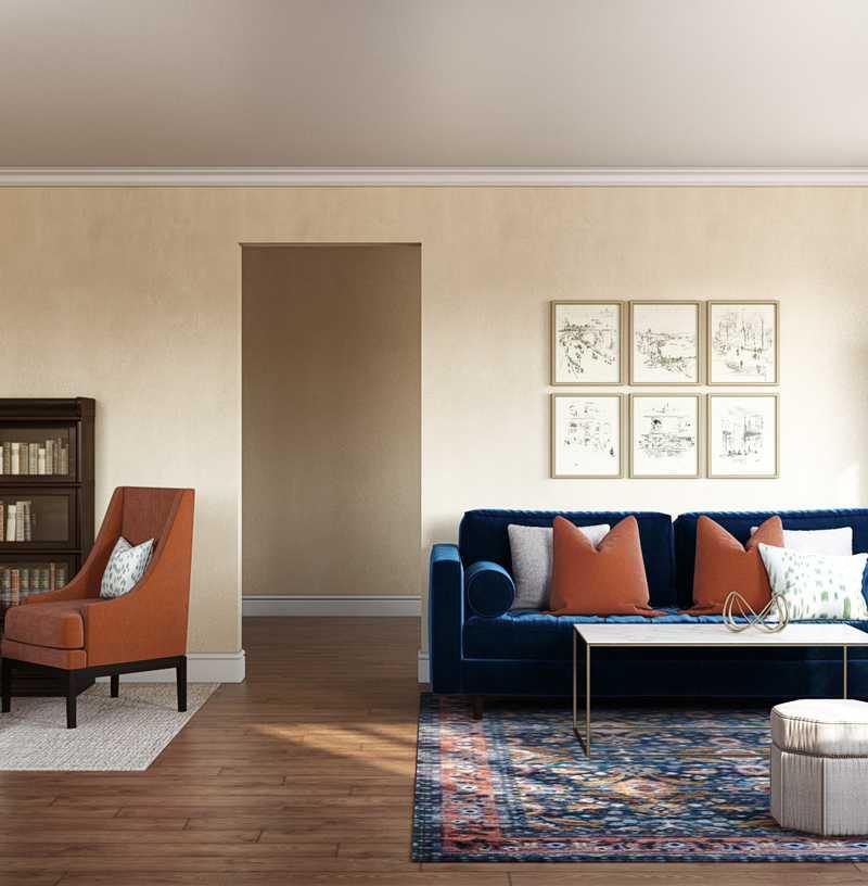 Contemporary, Midcentury Modern Living Room Design by Havenly Interior Designer Lisa