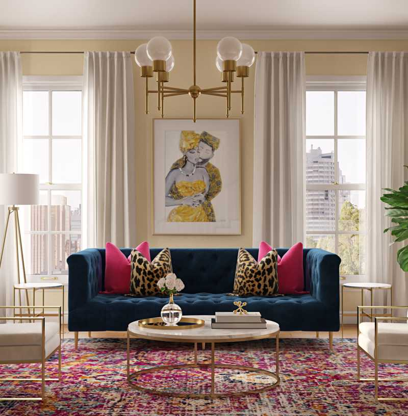 Eclectic, Glam Living Room Design by Havenly Interior Designer Shameika