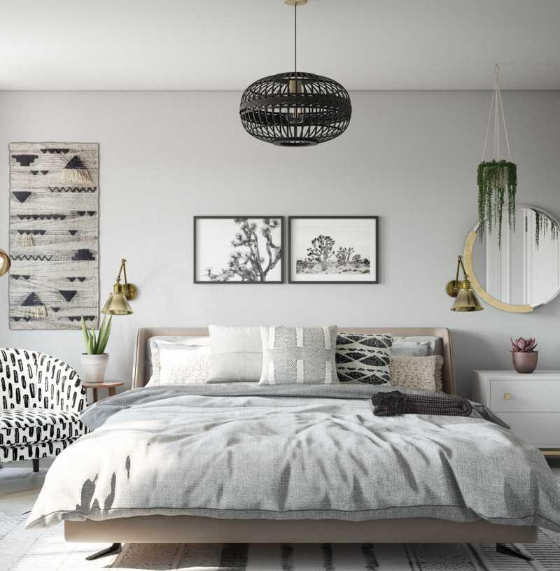 Contemporary, Bohemian, Industrial, Midcentury Modern Bedroom Design by Havenly Interior Designer Britney