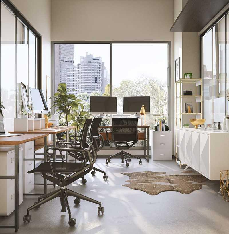 Modern, Glam Office Design by Havenly Interior Designer Maria