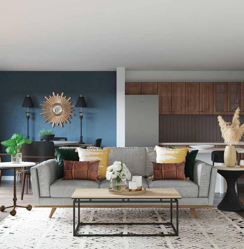 Modern, Eclectic, Midcentury Modern Living Room Design by Havenly Interior Designer Fendy