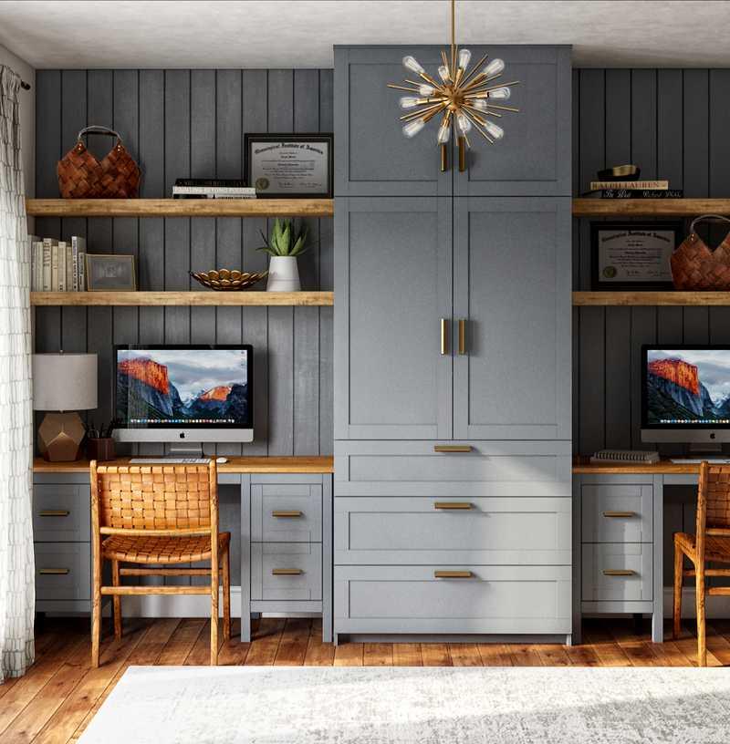 Modern, Bohemian, Scandinavian Office Design by Havenly Interior Designer Erica