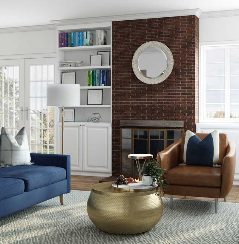 Coastal, Glam Living Room Design by Havenly Interior Designer Erin