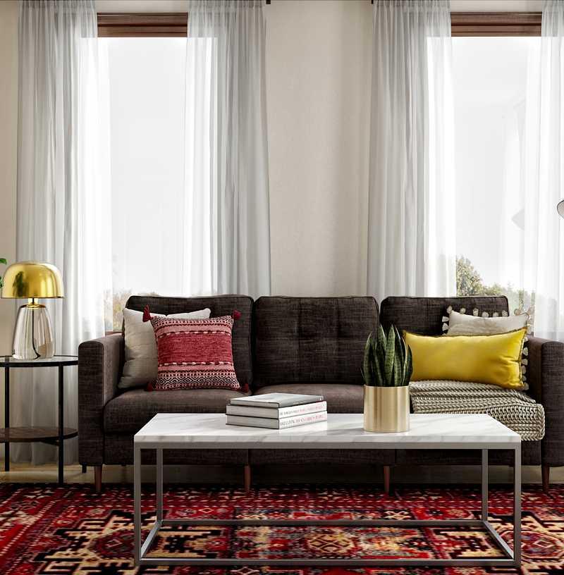 Bohemian, Global, Midcentury Modern Living Room Design by Havenly Interior Designer Jessie