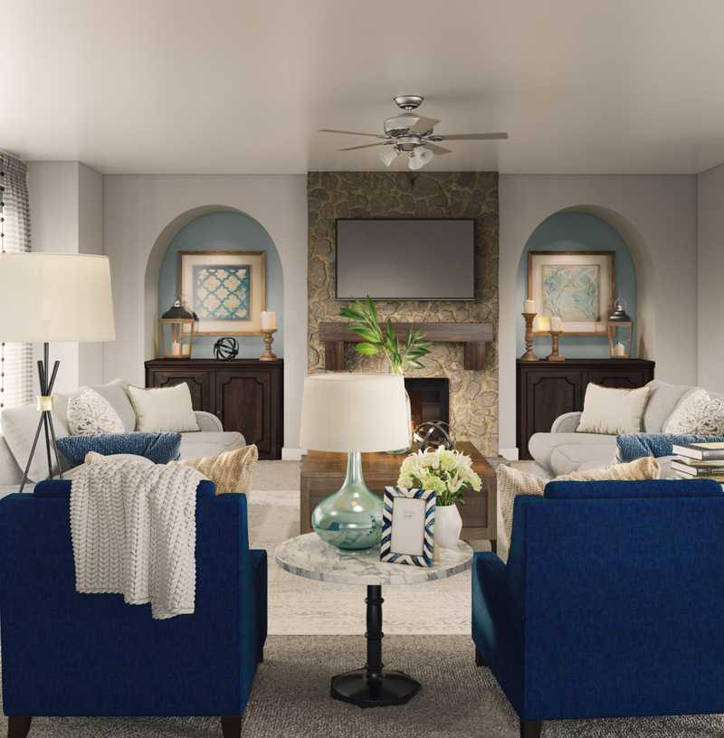 Coastal, Farmhouse Living Room Design by Havenly Interior Designer Kristy