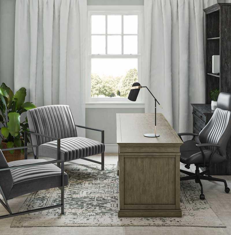 Rustic, Scandinavian Office Design by Havenly Interior Designer Rocio