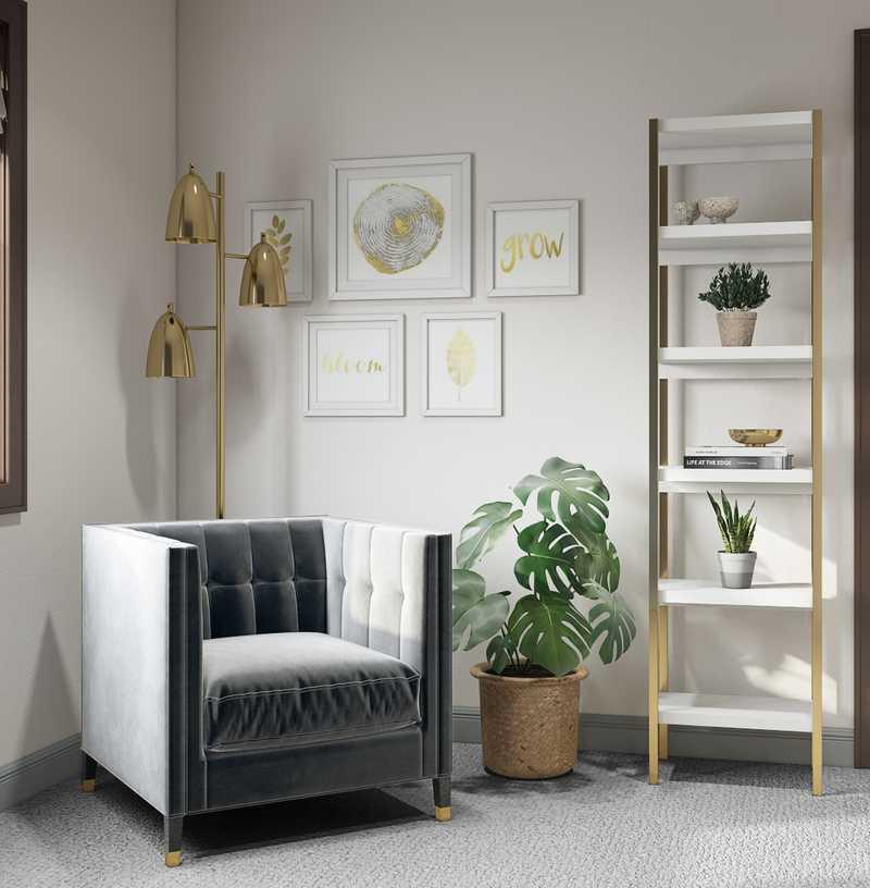 Coastal, Glam Office Design by Havenly Interior Designer Sawyer
