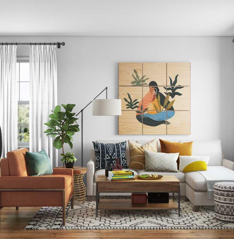 Bohemian, Global, Scandinavian Living Room Design by Havenly Interior Designer Cynthia