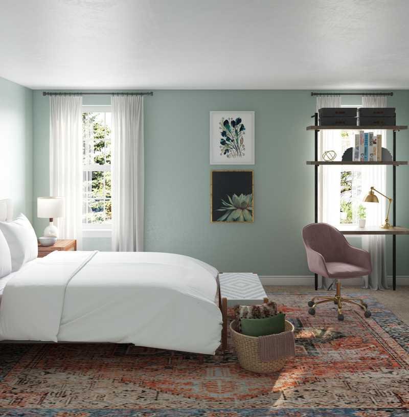 Eclectic, Bohemian, Midcentury Modern Bedroom Design by Havenly Interior Designer Jayme