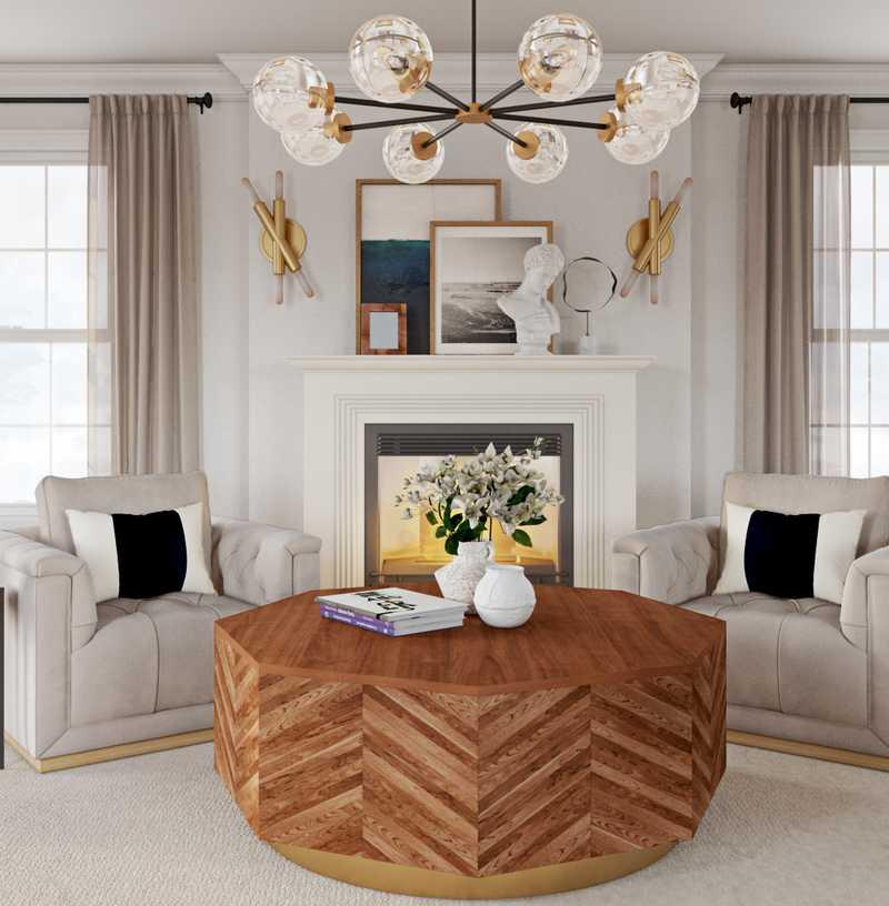 Modern, Eclectic, Glam, Midcentury Modern Living Room Design by Havenly Interior Designer Kacey