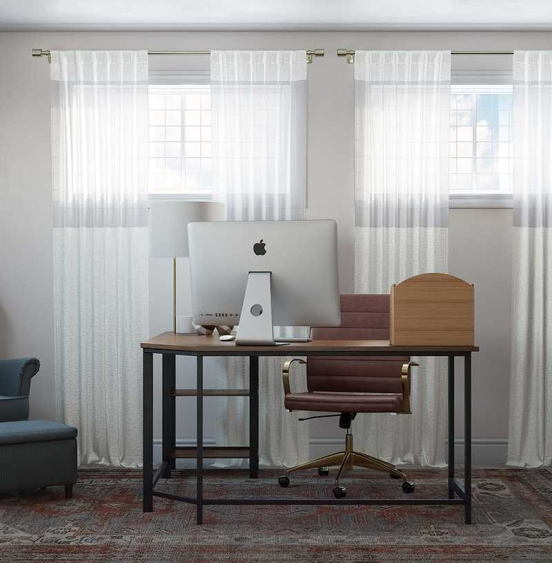Bohemian, Traditional, Midcentury Modern Office Design by Havenly Interior Designer Natasha