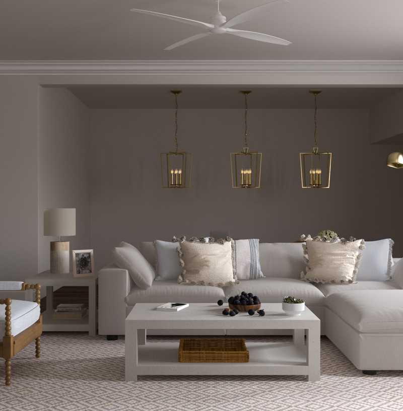 Coastal, Farmhouse Living Room Design by Havenly Interior Designer Yoseika