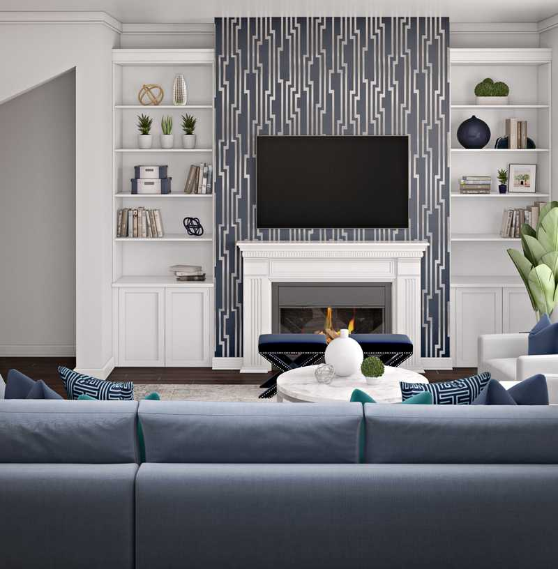 Contemporary Living Room Design by Havenly Interior Designer Karen