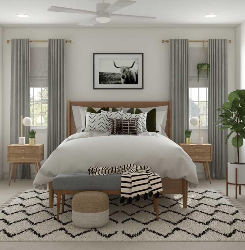 Eclectic, Bohemian, Glam, Global, Midcentury Modern Bedroom Design by Havenly Interior Designer Danielle