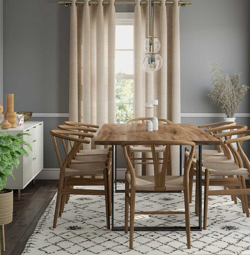 Bohemian, Midcentury Modern Dining Room Design by Havenly Interior Designer Melissa