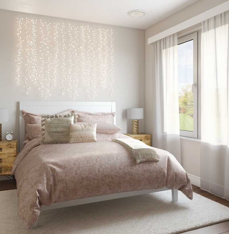 Modern, Glam, Preppy Bedroom Design by Havenly Interior Designer Sabra