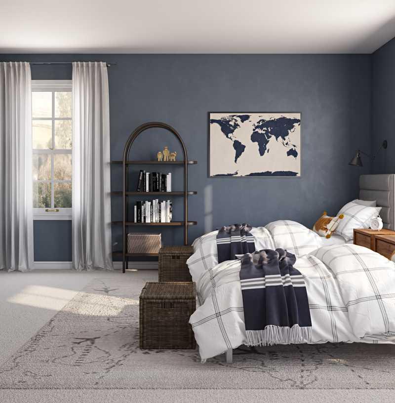 Coastal, Rustic, Preppy Bedroom Design by Havenly Interior Designer Sandra