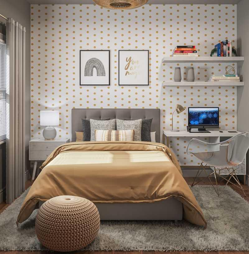 Bohemian, Glam, Midcentury Modern Bedroom Design by Havenly Interior Designer Waleska