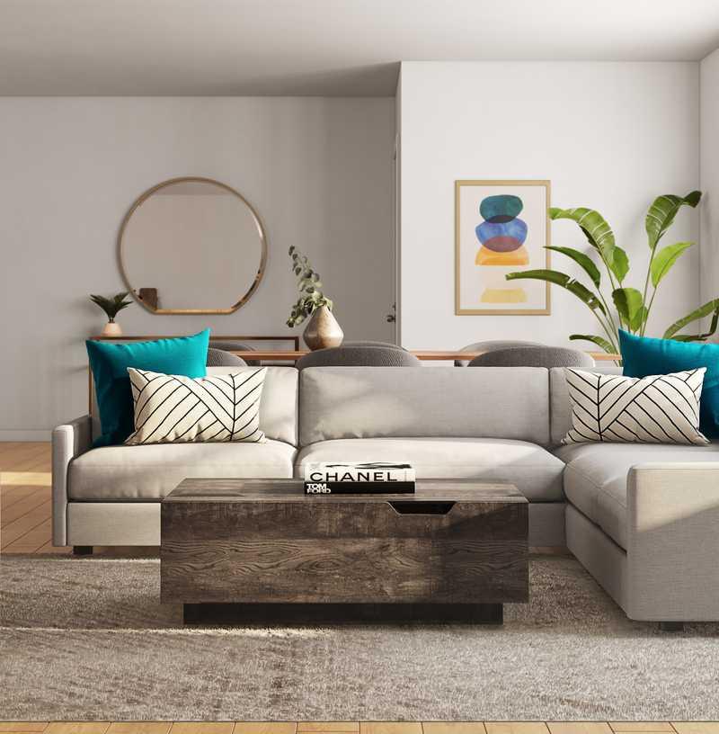 Glam, Midcentury Modern Living Room Design by Havenly Interior Designer Sarah