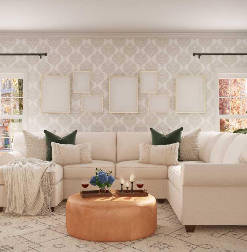 Classic, Farmhouse Living Room Design by Havenly Interior Designer Brady