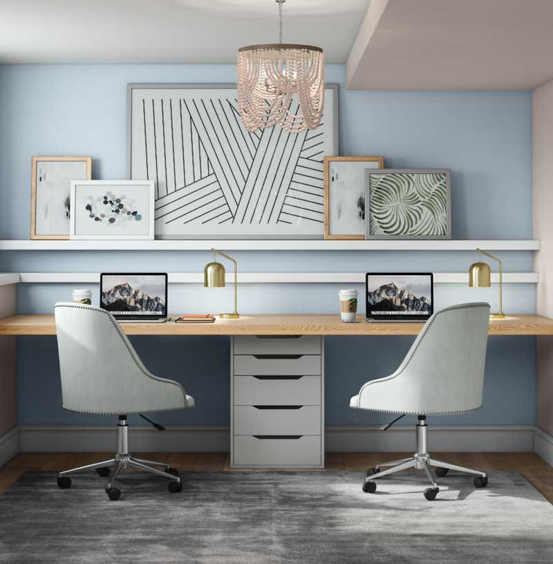 Contemporary, Modern, Coastal, Farmhouse, Transitional Office Design by Havenly Interior Designer Elizabeth